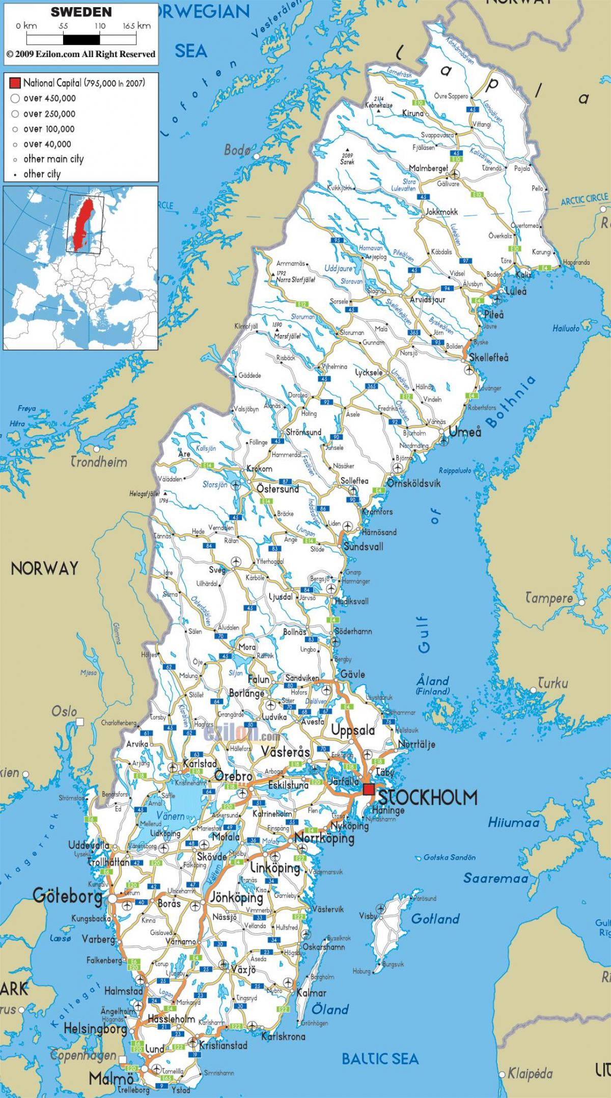 Sweden map with cities
